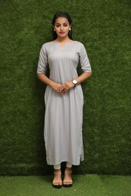 Women off-White Long Kurti Dress