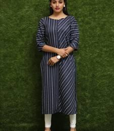 Women Dark Blue Cotton Kurti For Reguler Wear