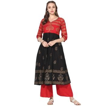 Varkha Fashion Cotton Sweetheart Neck Anarkali Kurta