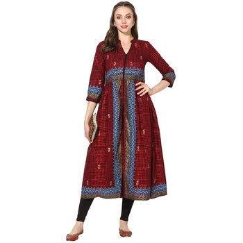 Varkha Fashion Cotton Mandarin Collar Anarkali Kurta