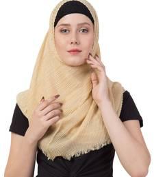 Stole for Women - Crinkled Cotton Mesh Sparkling Women's Stole - Golden
