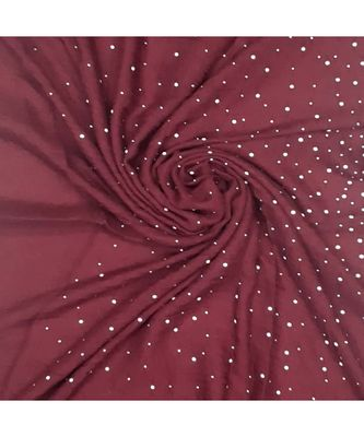 Stole For Women - Designer Due Drop Diamond Studed Cotton Hijab -Maroon