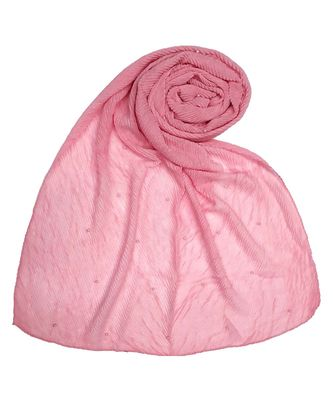 Stole for Women - Fabric - Cotton - Premium Crush Diamond Work Stole - Pink