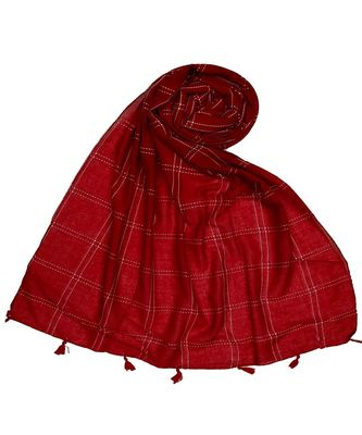 Stole for Women - Most Sold - White Threaded Grid Hijab - Maroon