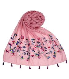 Stole for Women Choice - Premium Diamond Ari 100 % Cotton Women's Stole - Pink