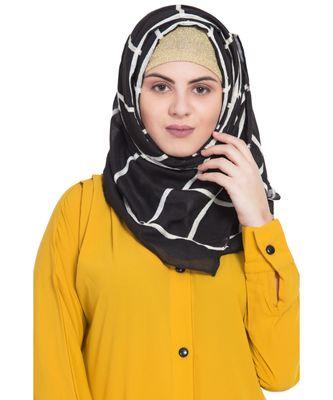 Stole For Women - Last 2 Units Remaning - Designer Grid Hijab - Fabric 100 % Pure Cotton Hijab - Black