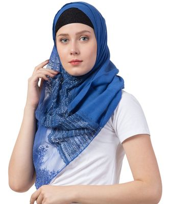 Stole For Women - Premium Cotton - Best Selling Product - Designer Diamond Studed Hand Work Hijab - Blue