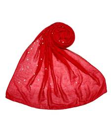 Stole For Women Choice - Premium Cotton Rain Drop Hijab - Red