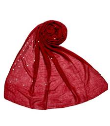Stole For Women Choice - Premium Rich Cotton Rain Drop Hijab - Maroon