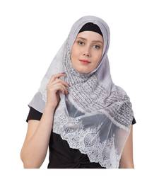Stole For Women - Limited Stock - Rich Cotton - Designer Diamond Work Hijab - Grey