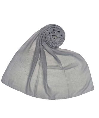 Stole For Women Hand Picked Collection - Cotton Dew Dew Drop Diamond Studed All Over Stole - Light Grey