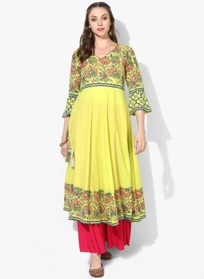 Varkha Fashion Cotton V-Neck Anarkali Kurta