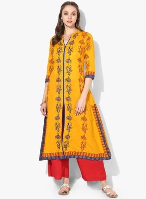 Varkha Fashion Cotton Mandarin Collar Anarkali Kurta