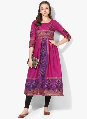 Varkha Fashion Cotton Round Neck Anarkali Kurta