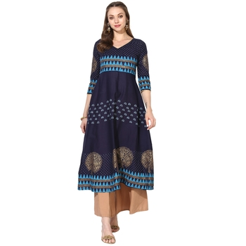 Varkha Fashion Cotton Round Neck Anarkali Kurta