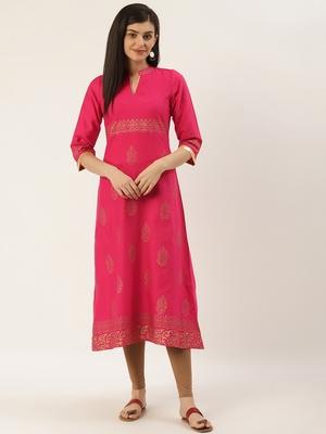 Varkha Fashion Cotton Mandarin Collar A-Line Kurta