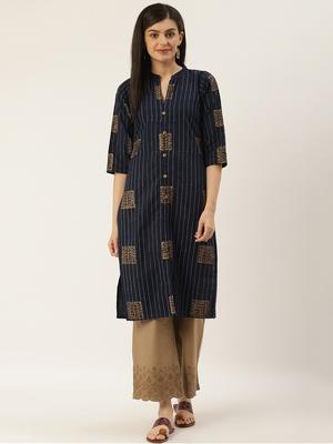 Varkha Fashion Cotton Mandarin Collar Straight Kurta