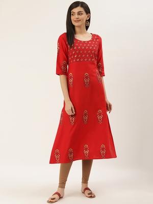 Varkha Fashion Cotton V-Neck A-Line Kurta