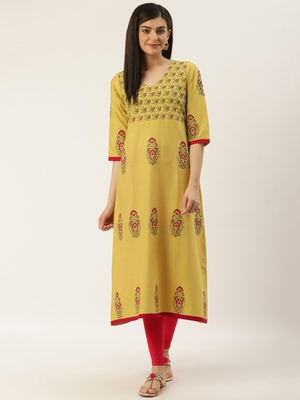 Varkha Fashion Cotton V-Neck Anarkali Kurta