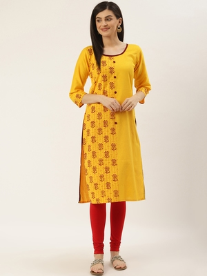 Varkha Fashion Cotton Round Neck Straight