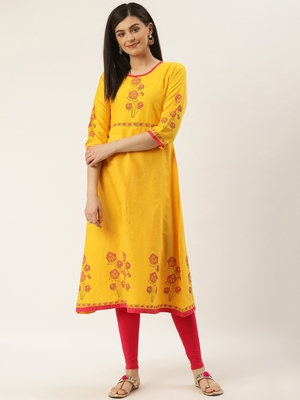Varkha Fashion Cotton Round Neck Straight