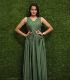 Women Green Long Designer Kurti