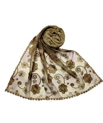 Stole For Women Choice - Most Sold - Designer Flower Hijab - Brown