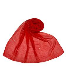 Stole For Women - RESTOCKED - BEST SELLER BACK IN STOCK - Premium Cotton Rain Drop Hijab - Red