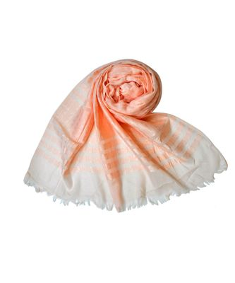 Stole For Women Choice - Cotton Fabric - Stripes and Patches Embroidered All Over The Hijab - Orange