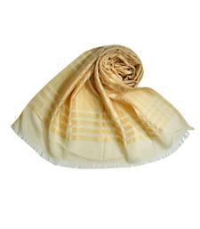 Stole For Women Choice - Cotton Fabric - Stripes and Patches Embroidered All Over The Hijab - Brown