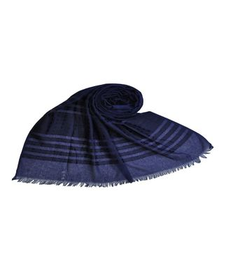 Stole For Women Choice - Cotton Fabric - Stripes and Patches Embroidered All Over The Hijab - Blue