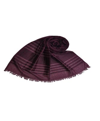 Stole For Women Choice - Cotton Fabric - Stripes and Patches Embroidered All Over The Hijab - Purple