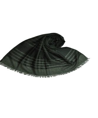 Stole For Women Choice - Cotton Fabric - Stripes and Patches Embroidered All Over The Hijab - Green