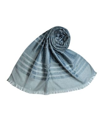 Stole For Women Choice - Cotton Fabric - Stripes and Patches Embroidered All Over The Hijab - Grey
