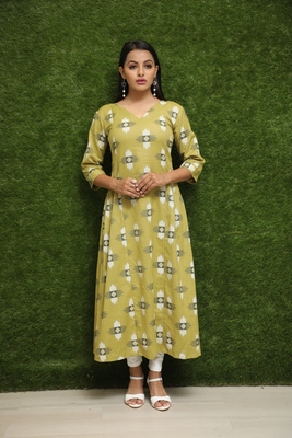 Women Yellow Stichhed Kurti For Girls