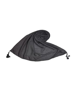Best Selling Stole - Premium Cotton Fabric - Circular Design All Over The Stole With Fringe's At The Border - Grey