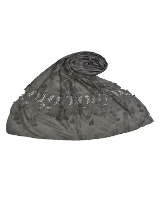 Premium Collection - Cotton Fabric - Diamond Work Heavy Lace Hijab With Fringe's All Over The Stole - Grey