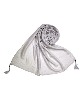 Best Selling Stole - Premium Cotton Fabric - Circular Design All Over The Stole With Fringe's At The Border - Cream