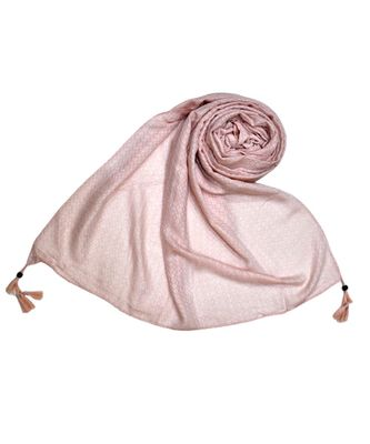 Best Selling Stole - Premium Cotton Fabric - Circular Design All Over The Stole With Fringe's At The Border - Pink