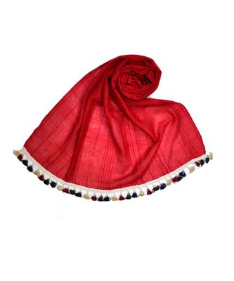 Premium Crush Cotton Fabric - Designer Party Wear Striped Liner Stole With Colourful Fringe's - Red