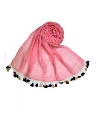 Premium Crush Cotton Fabric - Designer Party Wear Striped Liner Stole With Colourful Fringe's - Orange