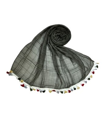 Premium Crush Cotton Fabric - Designer Party Wear Striped Liner Stole With Colourful Fringe's - Grey