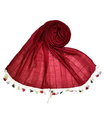 Premium Crush Cotton Fabric - Designer Party Wear Striped Liner Stole With Colourful Fringe's - Maroon
