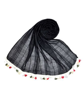 Premium Crush Cotton Fabric - Designer Party Wear Striped Liner Stole With Colourful Fringe's - Black