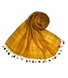 Premium Crush Cotton Fabric - Designer Party Wear Striped Liner Stole With Colourful Fringe's - Yellow