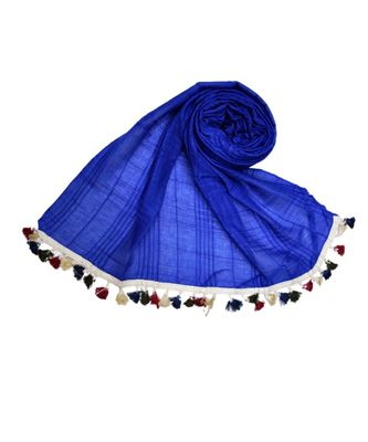 Premium Crush Cotton Fabric - Designer Party Wear Striped Liner Stole With Colourful Fringe's - Blue