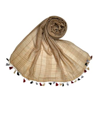 Premium Crush Cotton Fabric - Designer Party Wear Striped Liner Stole With Colourful Fringe's - Brown