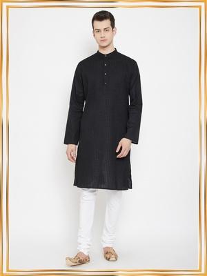 Black plain cotton men-kurtas