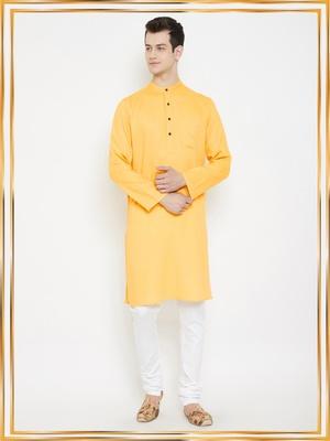 Yellow woven cotton men-kurtas