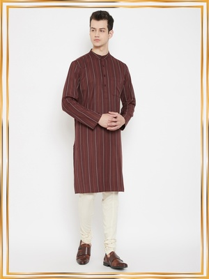 Maroon plain viscose rayon men-kurtas